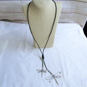3 for $25 - Two Silver Dragonflies Black Cord